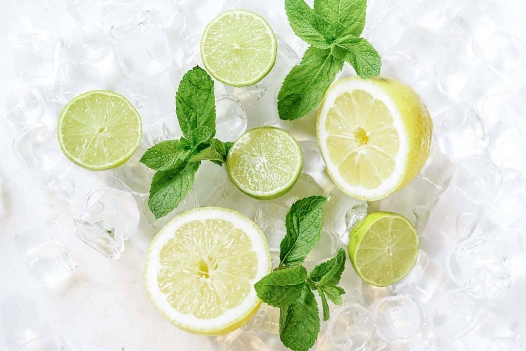 Lemon and limes on ice