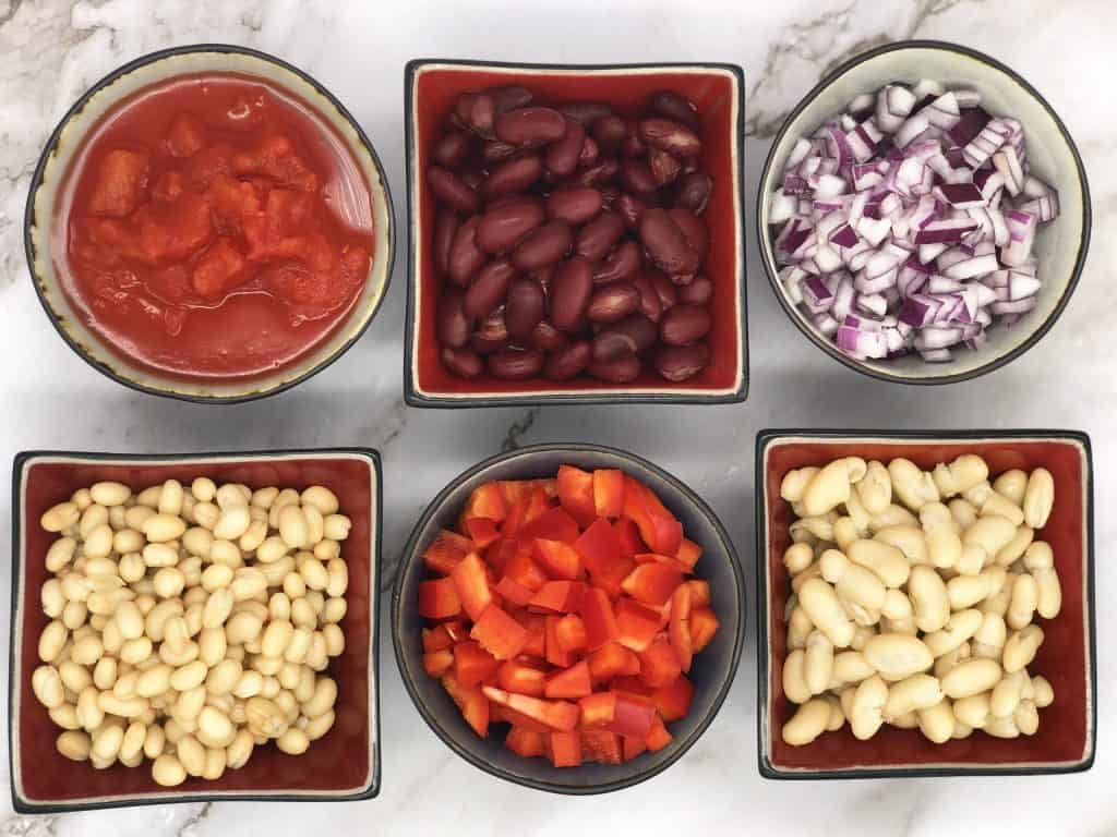 Ingredients for veggie sausage and bean casserole