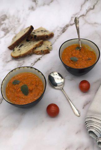 Homemade tomato soup ready to eat