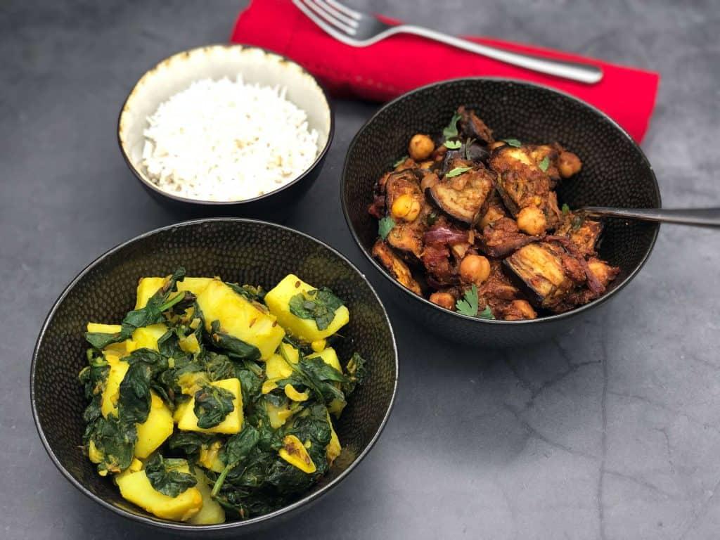 Aubergine curry and Aloo Gobi