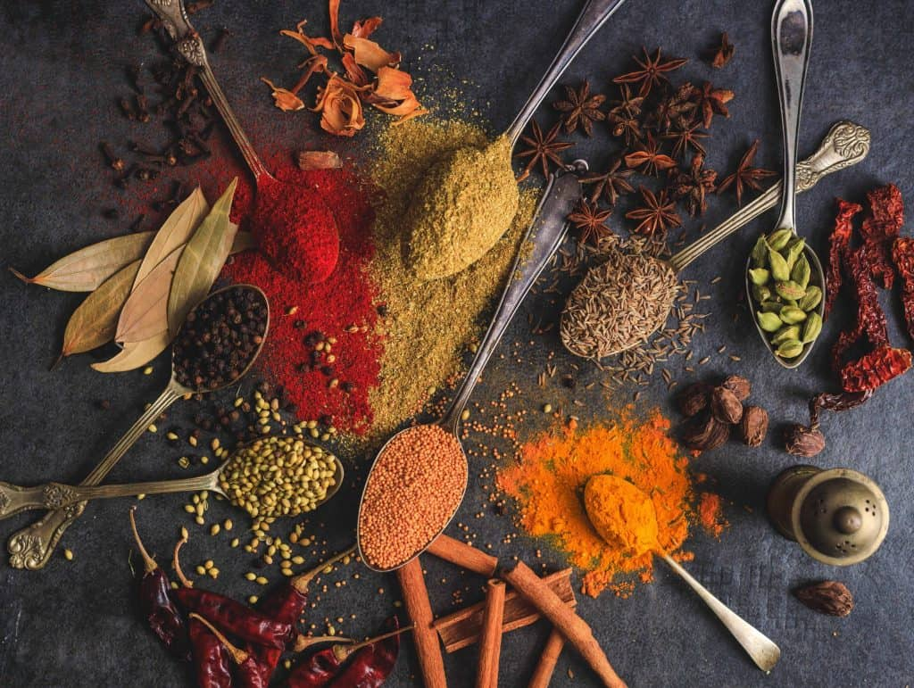 Indian spices on a dark background