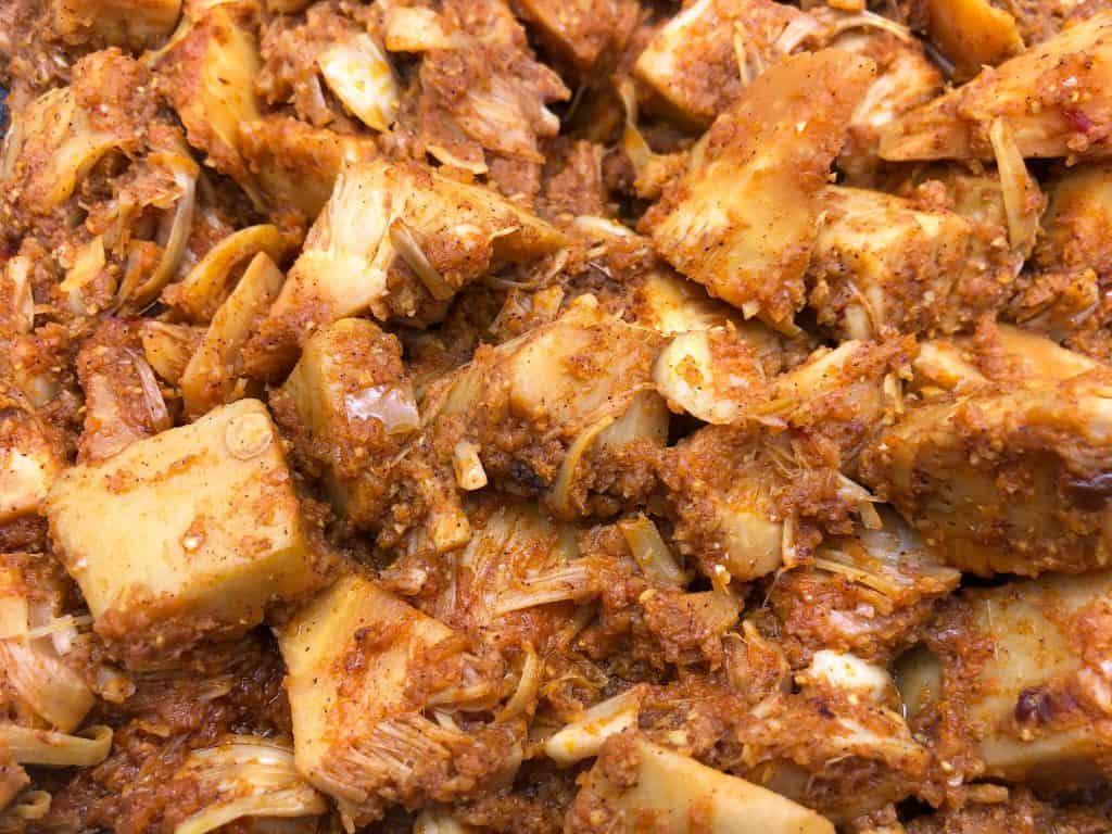 Close up of jackfruit curry