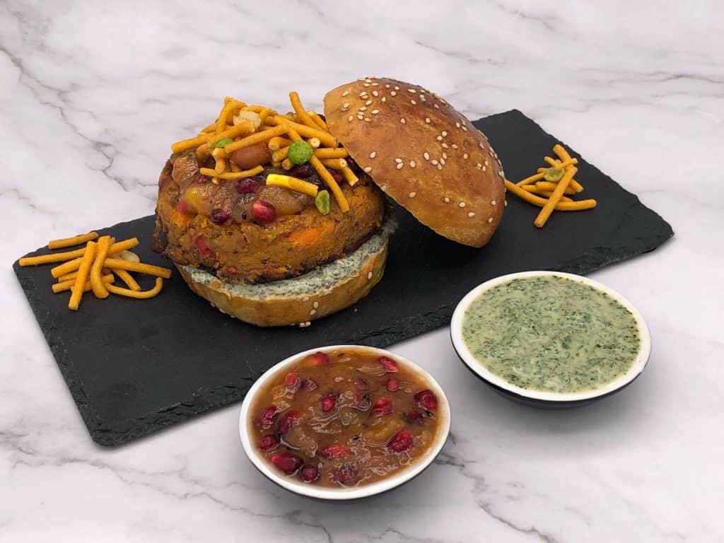 Veggie Indian street burger and bun