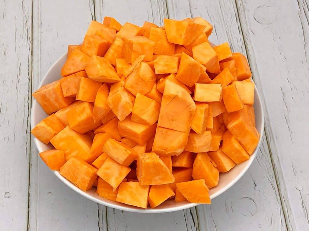 Sweet potato chunks in a bowl