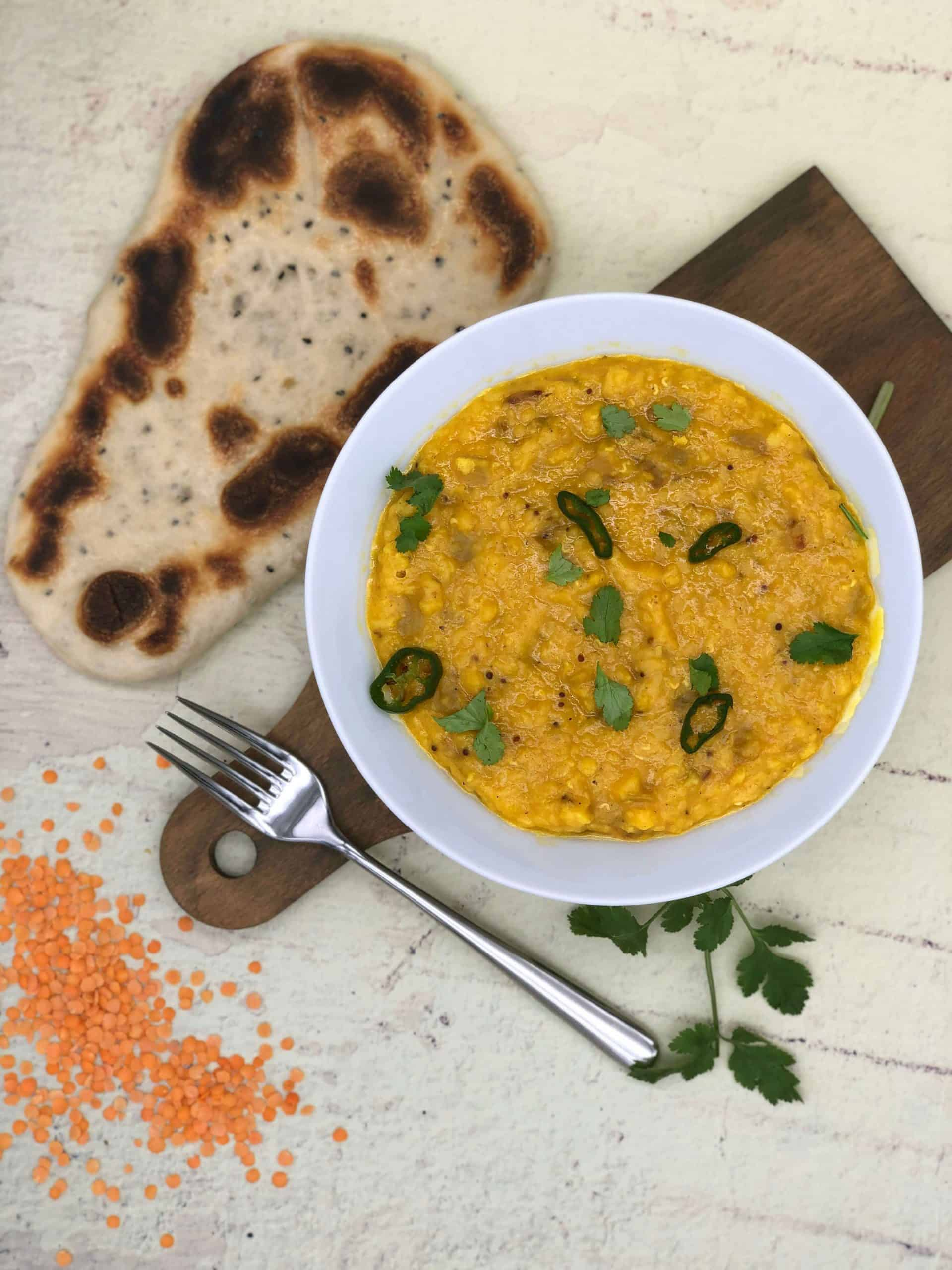 Best tarka dhal with naan bread and lentils