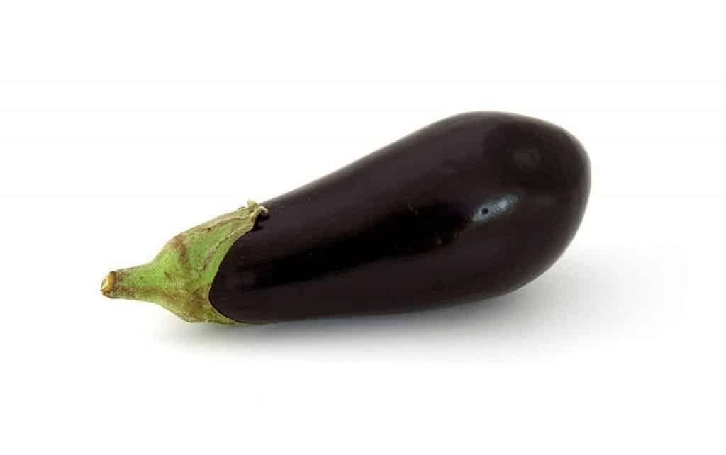 A single fresh aubergine