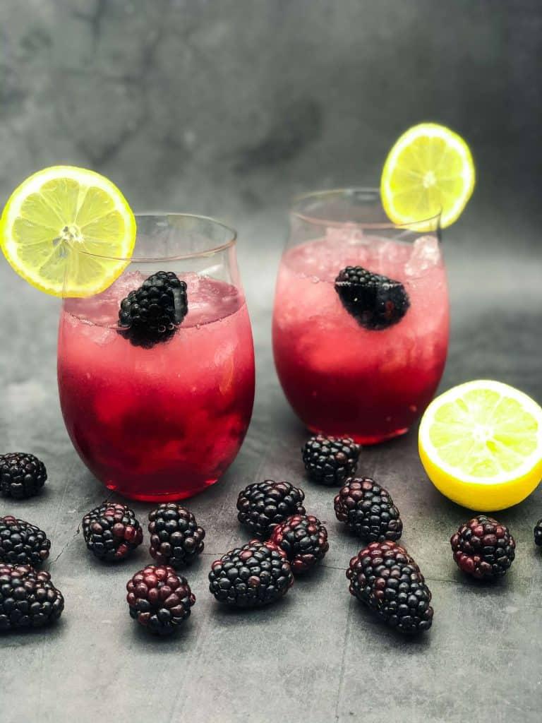 Freshly made Bramble cocktails