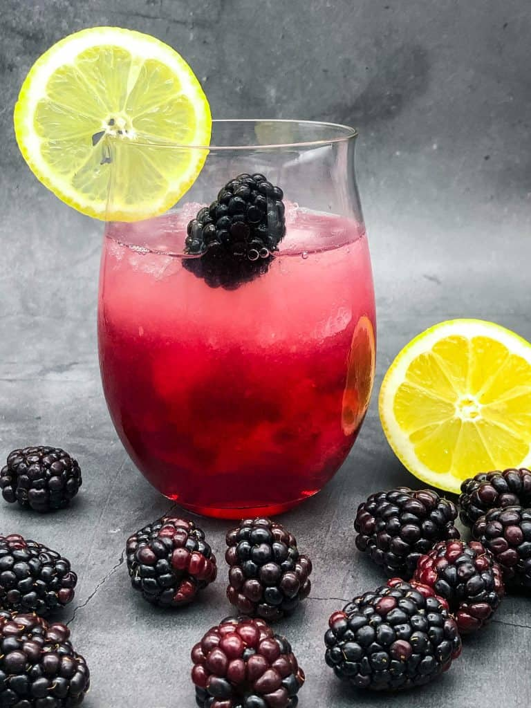 A Bramble cocktail ready for drinking
