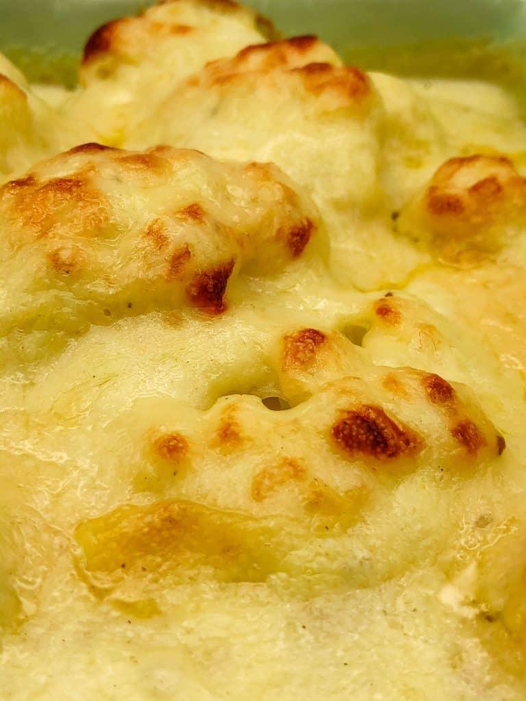 Close up of cauliflower cheese