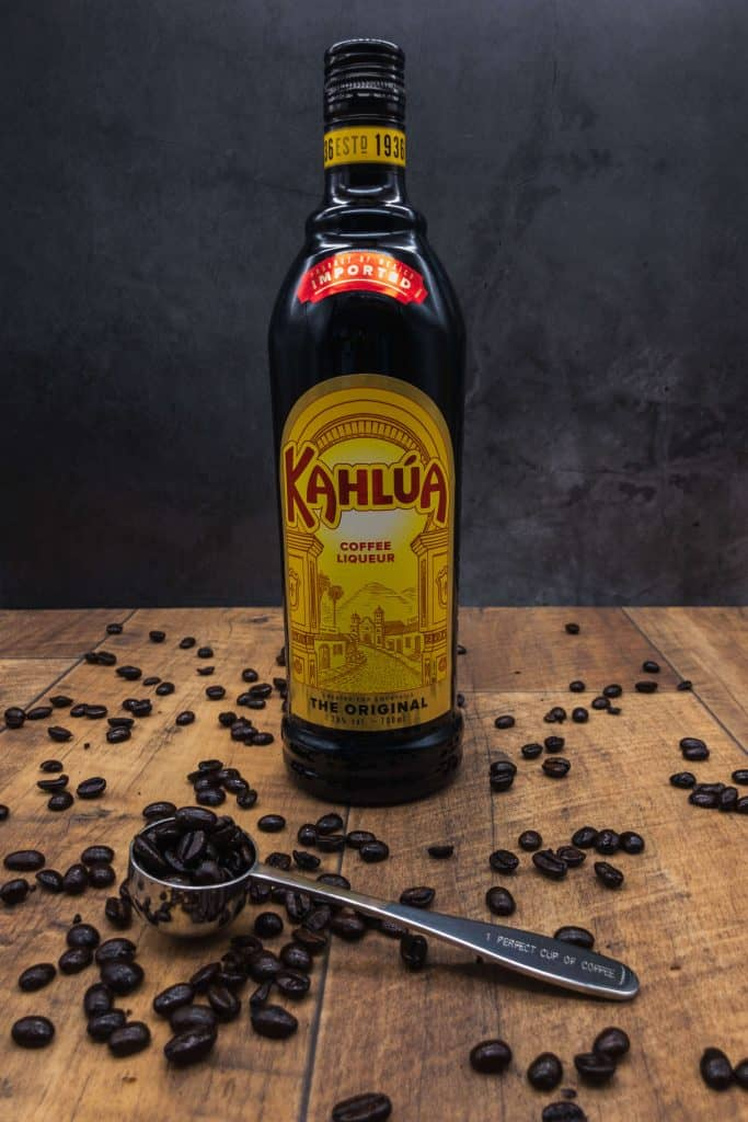 Bottle of kahlua one of the main ingredients for espresso martini