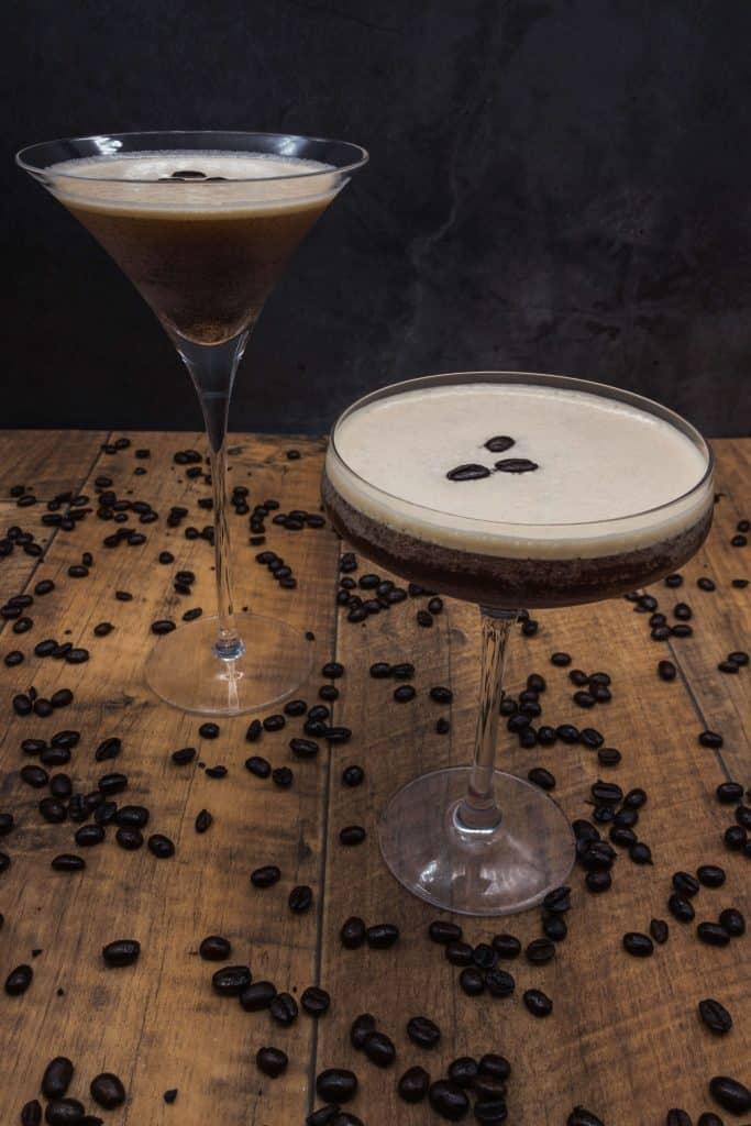 Two homemade espresso martinis