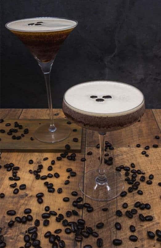 Two perfect espresso martini cocktails