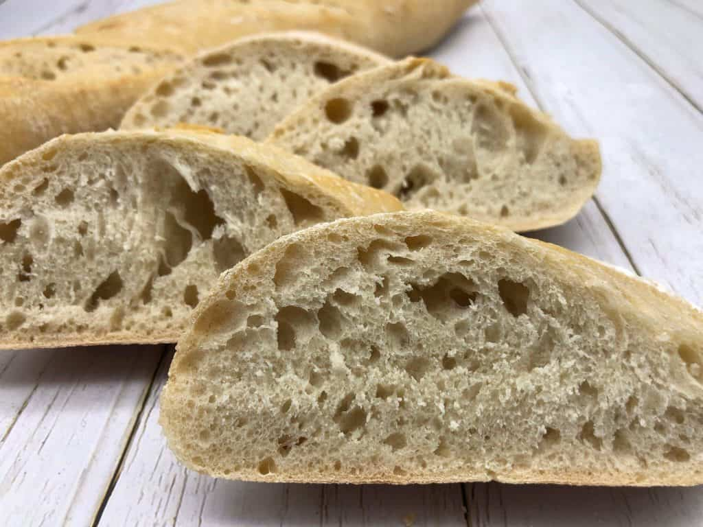 Tasty slices of French bread ready to eat