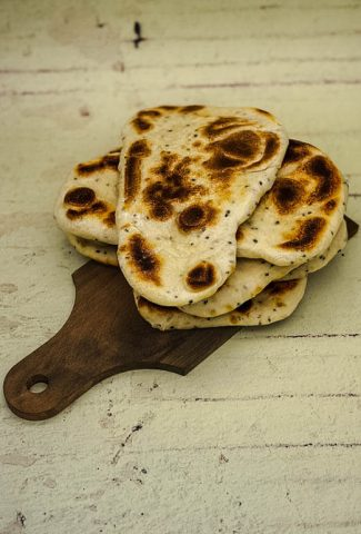 Fresh homemade Naan bread ready to eat