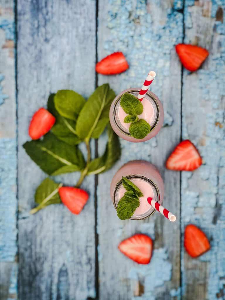 Strawberry milkshake from above