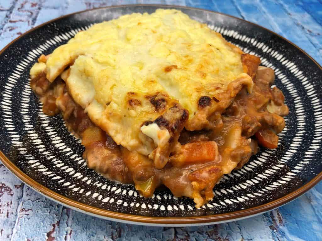 A plate of tasty vegetarian lasagne