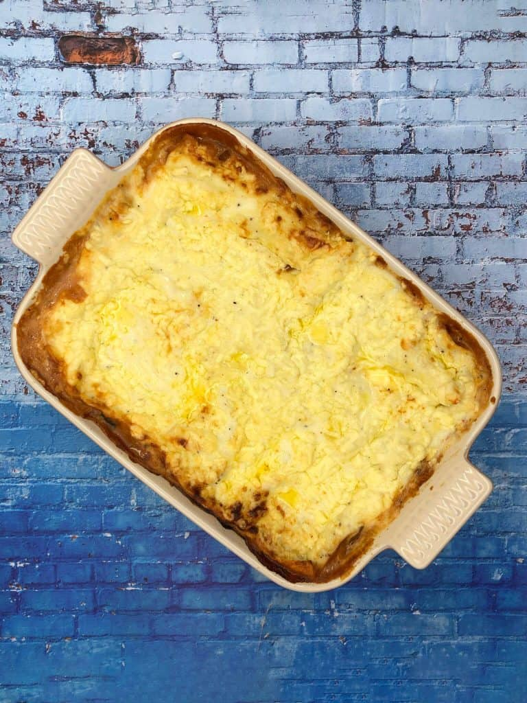 An oven dish with a family sized vegetable lasagne weeknight dinner
