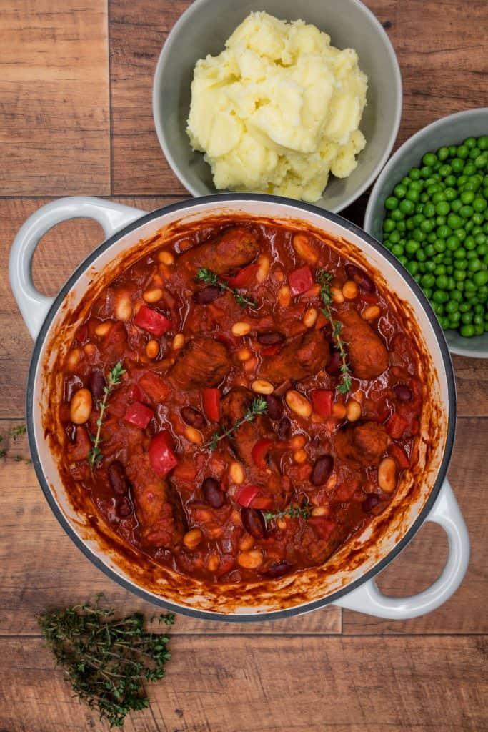 Tasty homemade veggie sausage and bean casserole