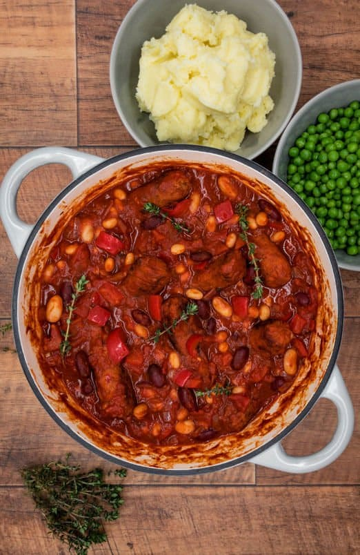 Dutch oven with vegetarian sausage and bean casserole