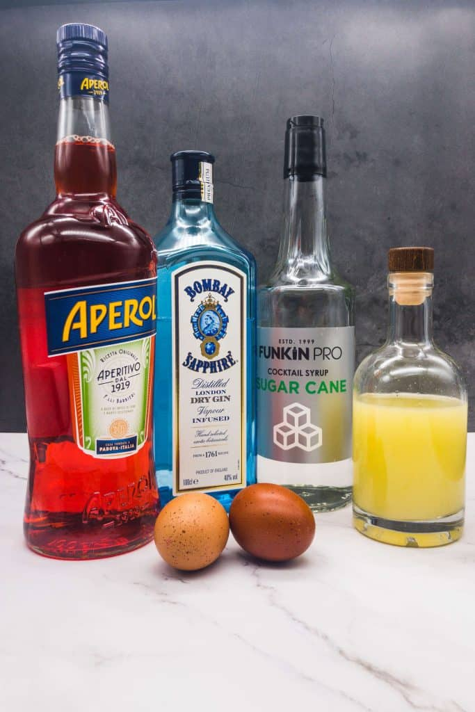 Ingredients to make sour aperol