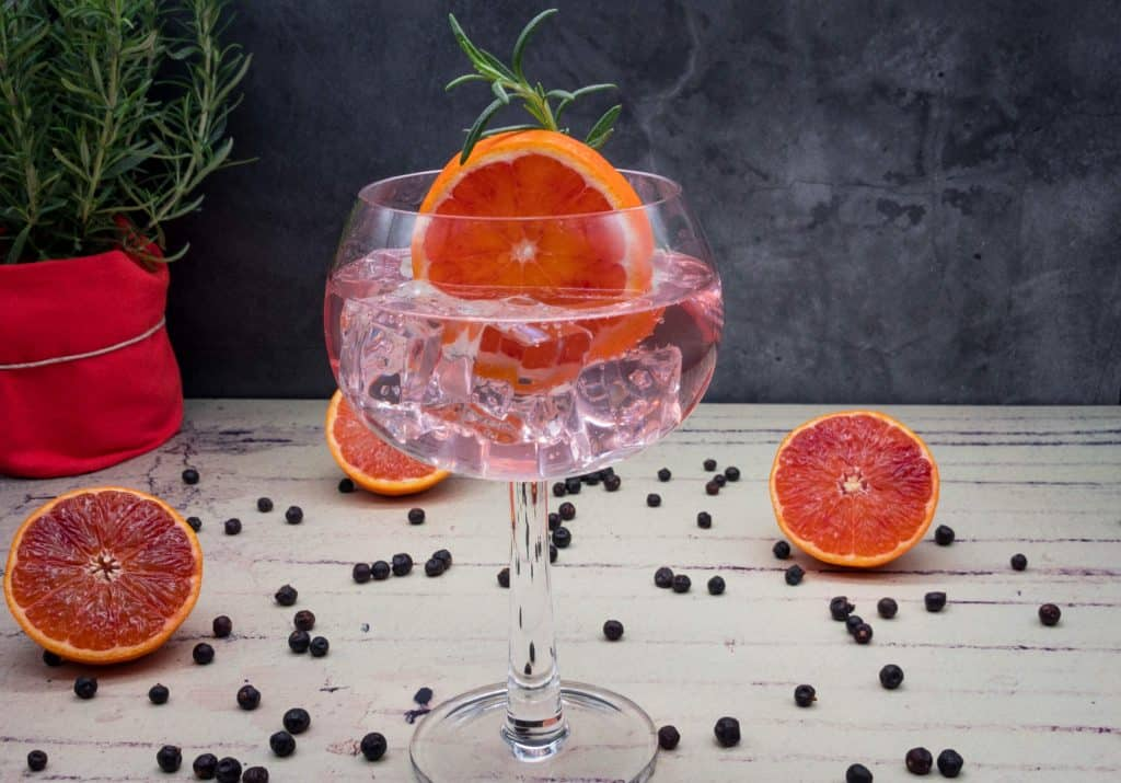Homemade blood orange gin and tonic with rosemary and juniper berries