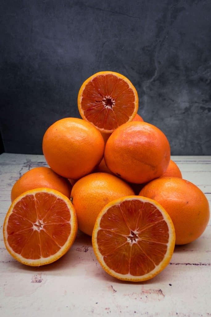 A pile of blood oranges