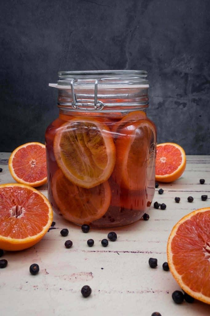 Homemade blood orange gin infusing