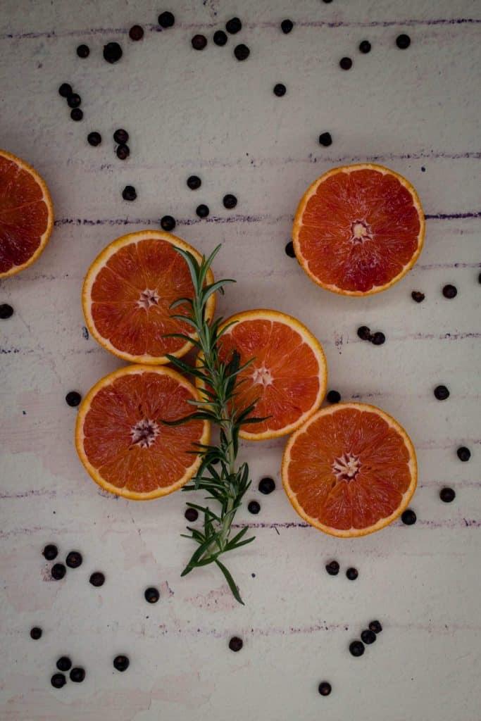 Blood oranges, juniper berries and rosemary