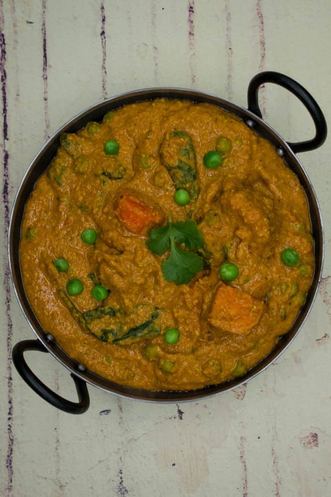 A balti dish with mixed vegetable curry korma