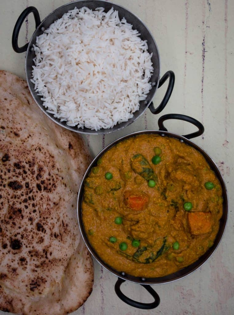 Balti dishes with korma curry and basmati rice