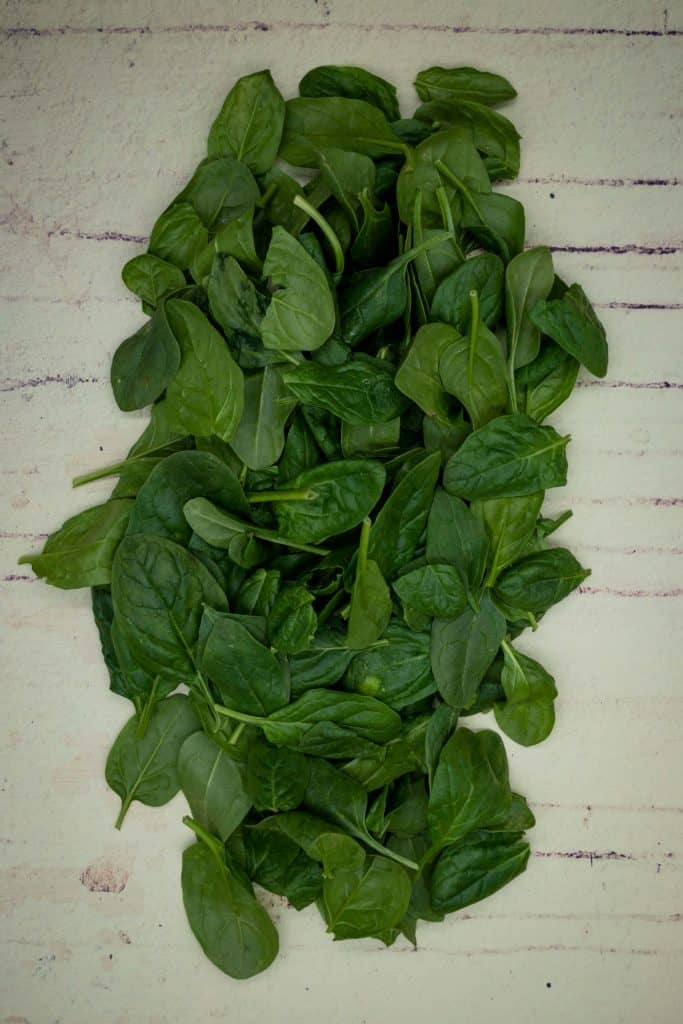 Uncooked fresh spinach