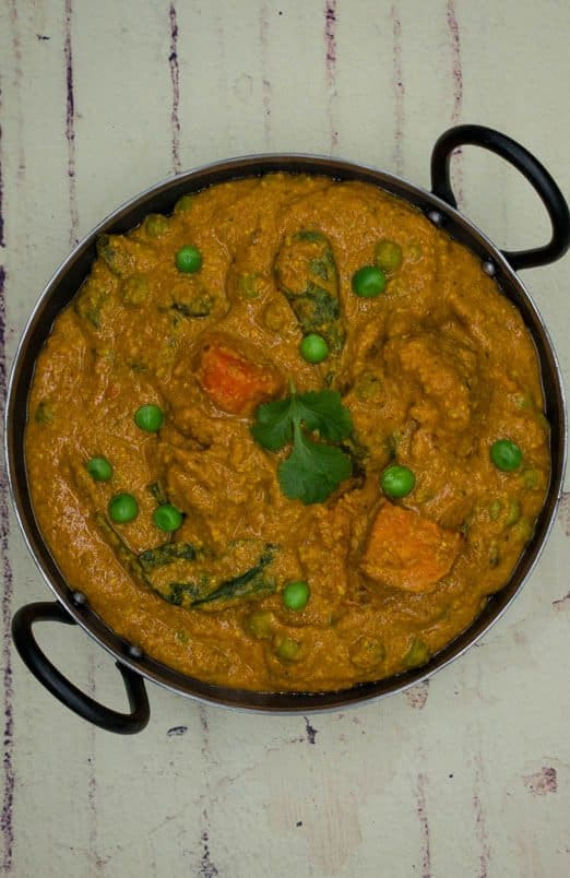 Balti dish with a mixed vegetable curry in
