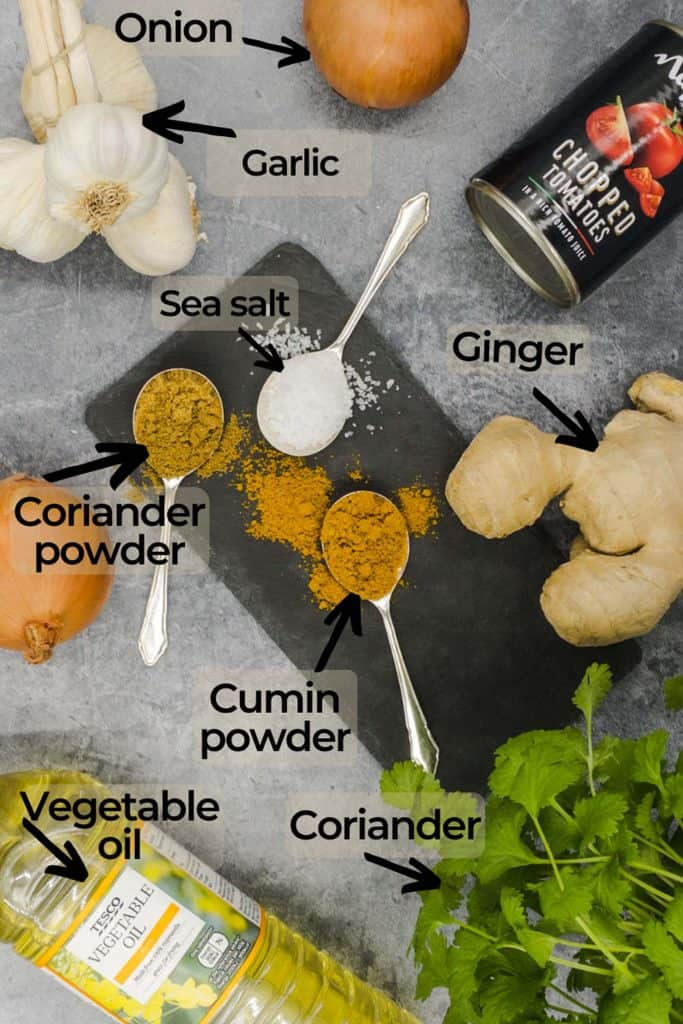 Ingredients for homemade Indian restaurant curry base sauce recipe