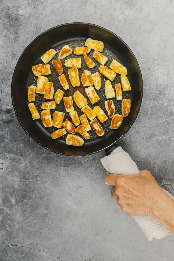 Fried halloumi cheese which is golden brown