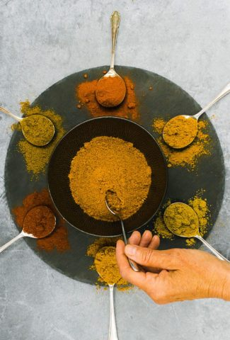 Indian spices ready to mix for a curry meal