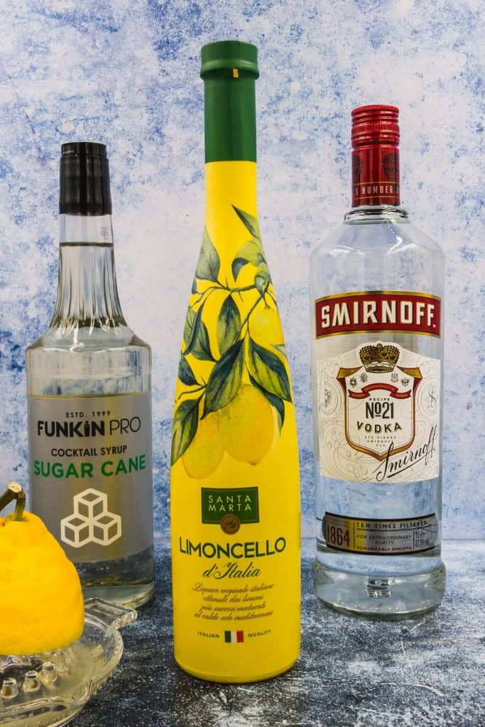 Limoncello, vodka and simple syrup