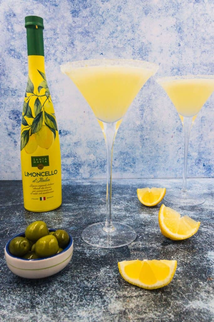 Italian liqueur and lemon drop martini