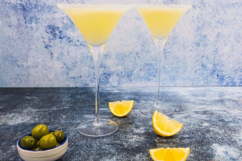 Two homemade lemon drop martinis