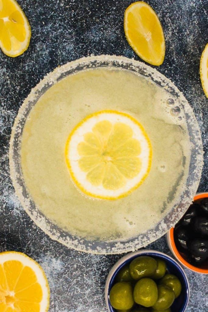 Fresh lemon in a lemon martini cocktail