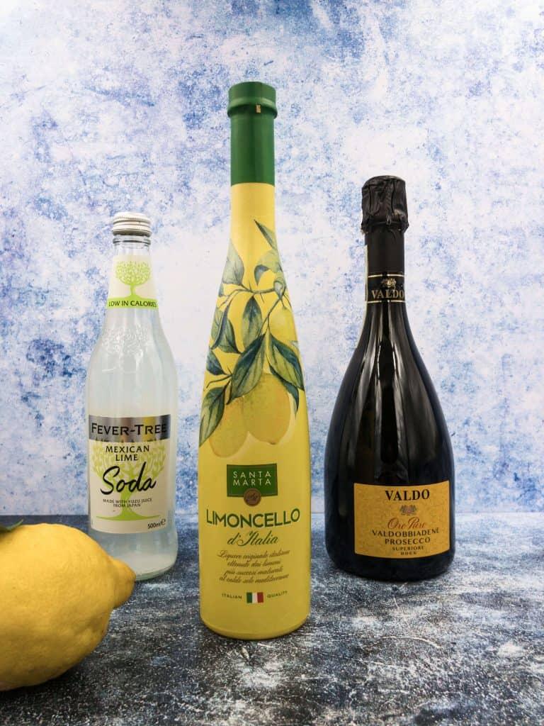 Limoncello prosecco club soda water and a lemon