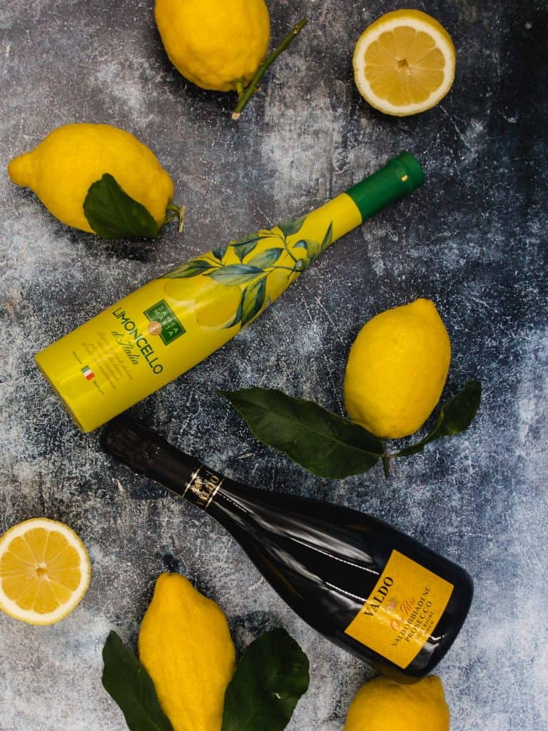 Limoncello prosecco and lemon ingredients