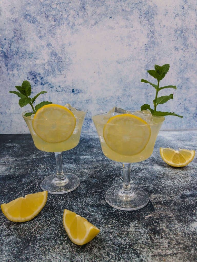 Two limoncello spritz cocktails ready to drink