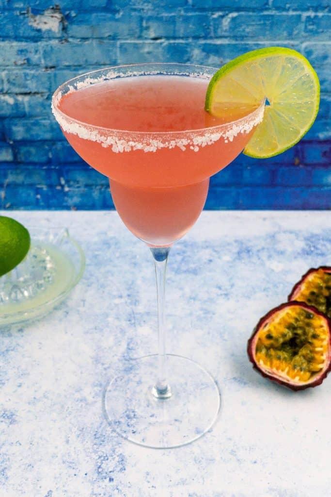 Refreshing sweet passion fruit margarita drink