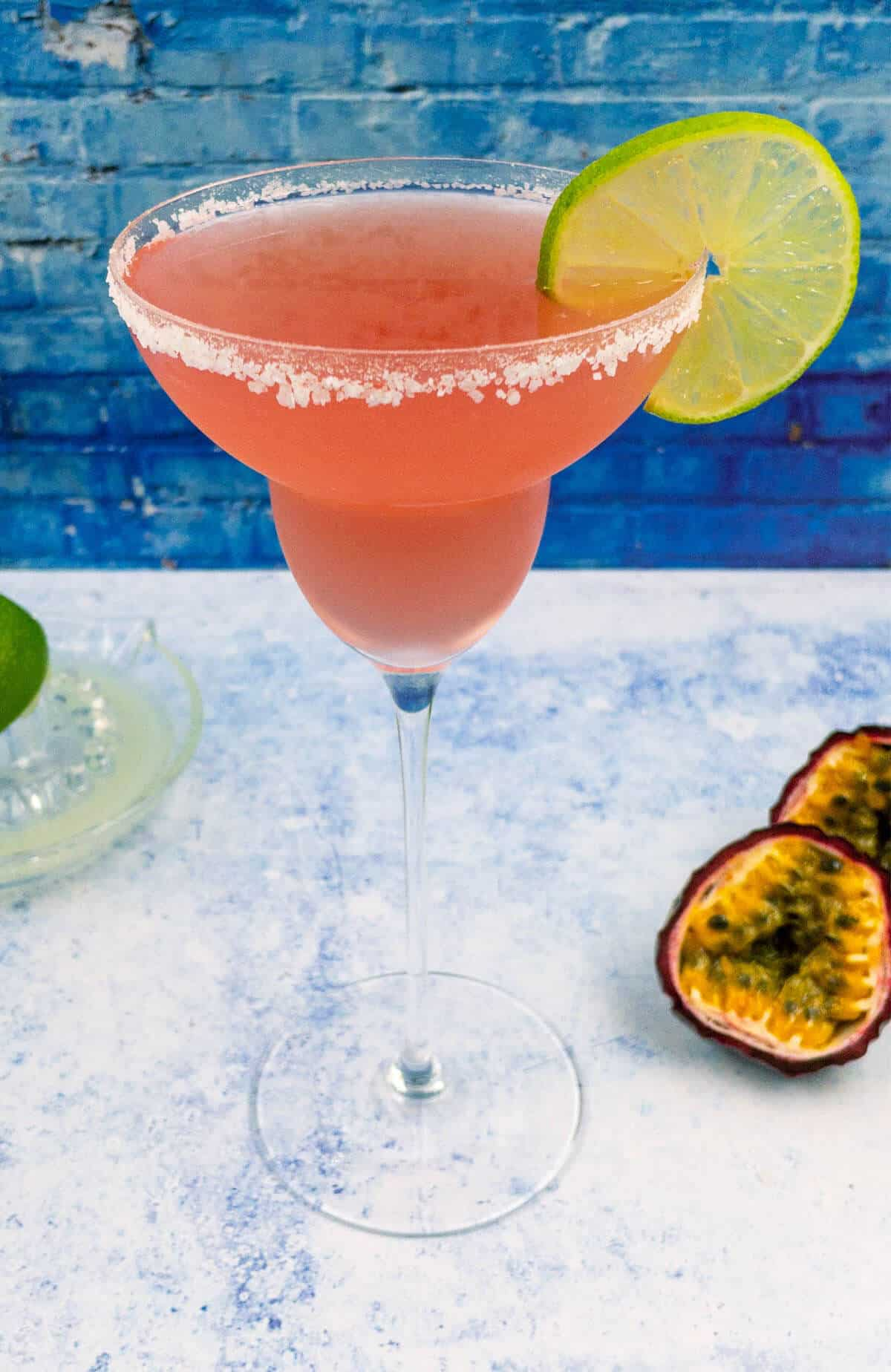 Passion fruit margarita with lime juice