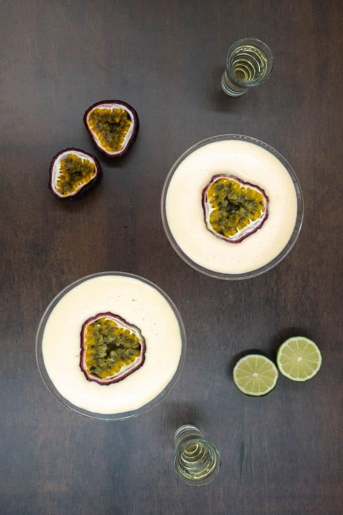 Non alcoholic version of passion fruit martini cocktail drinks
