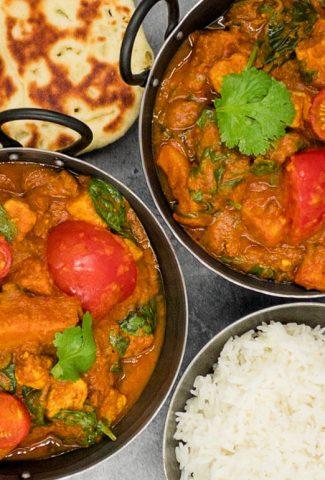 Two balti bowls of Indian vegan vegetable bhuna