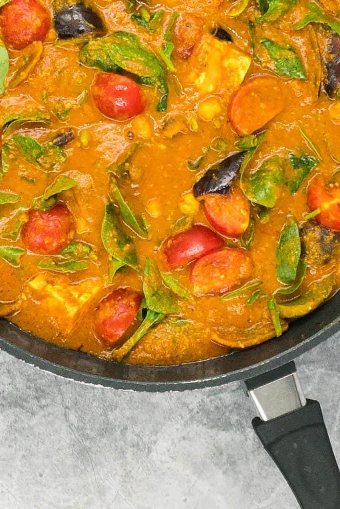 Paneer jalfrezi close up in a pan