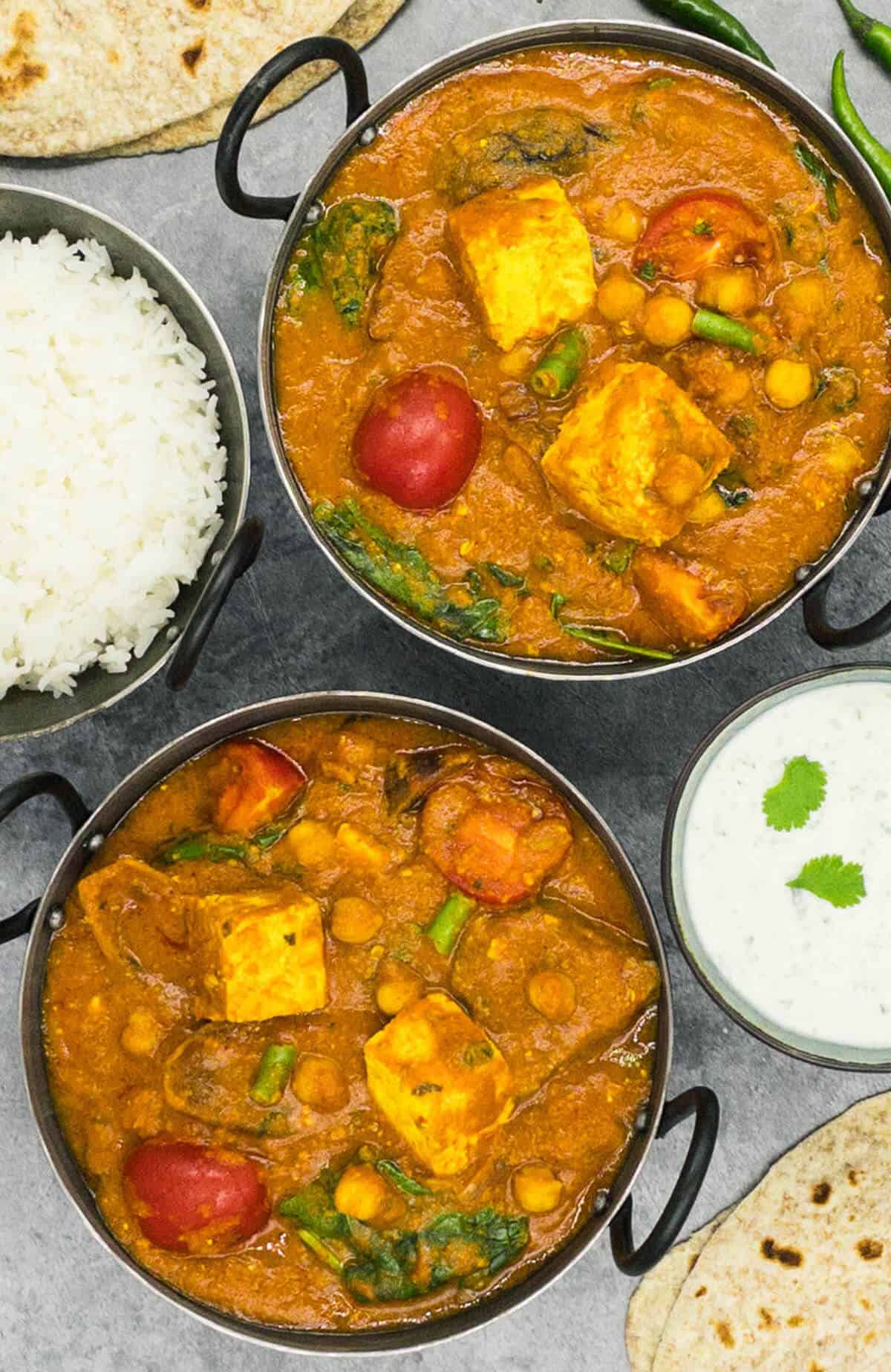 Two bowls of delicious paneer jalfrezi
