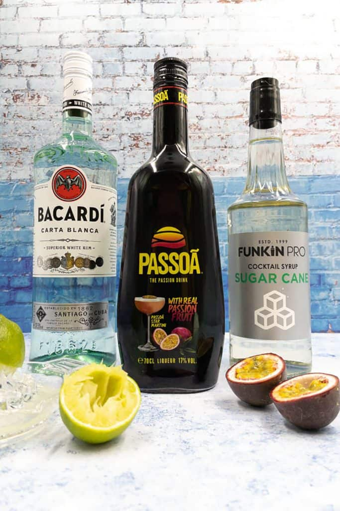 Passoa, white rum, sugar syrup and fresh lime juice with passion fruit, the ingredients for passion fruit daiquiri