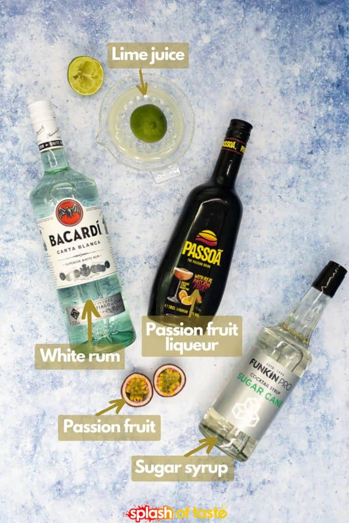 Ingredients for a passion fruit daiquiri, white rum, passoa, fresh lime juice, sugar syrup and passion fruit.